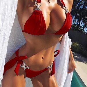 Other - Brand New Red Embellished Rhinestone Bikini, S